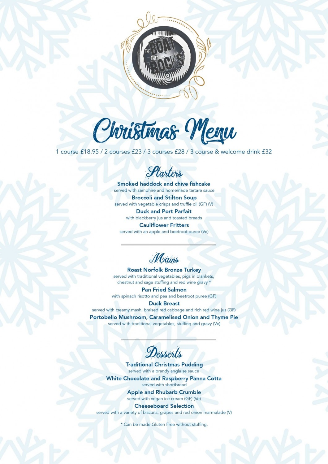 Christmas Party Menu in Weymouth and Portland